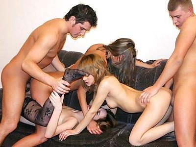 Badass school ladies inhale meaty peckers at super-steamy soiree