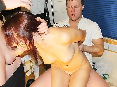 Lovely lady gets 2 spunk-pumps in MMF pornography activity