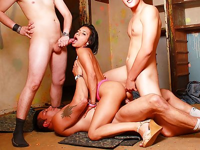 Extraordinaire black-haired cockslut in scorching Double penetration rendezvous with trio schlongs